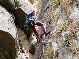 Rock climbing and abseiling in Suesca, Bogota
