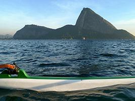Excursion along Guanabara Bay in a Hawaiian canoe, Rio de Janeiro
