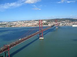 25th of April Bridge  and Christ the King statue, Lisbon